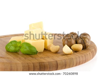 cheese and nuts on a white background