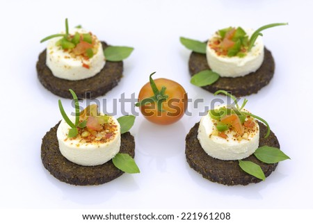 Cheese appetizers with rye bread skices in white background - stock photo