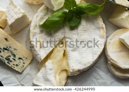 Cheese assorted on a table background. Variety sorts for appetizing, gourmet, delicious snacks. Traditional French dish for wine on lunch and dinner closeup. Camembert, Roquefort. - stock photo