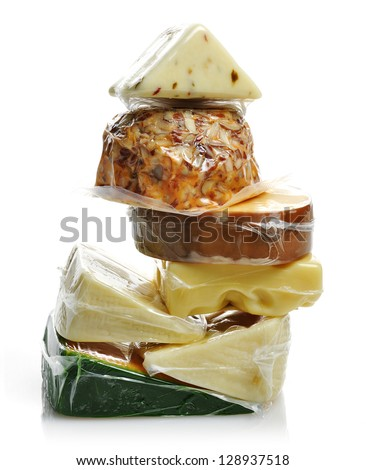 Cheese Assortment In The Vacuum Package - stock photo