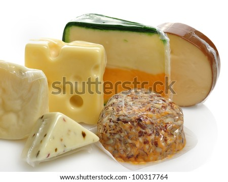 Cheese Assortment In Vacuum Package - stock photo