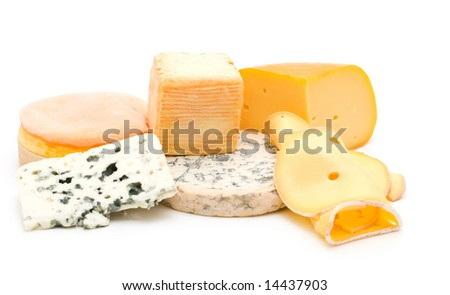 cheese assortment on white background