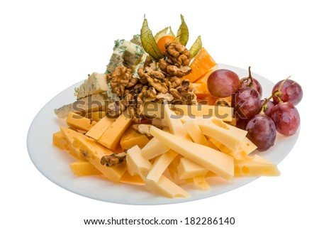 Cheese assortment with grape - stock photo