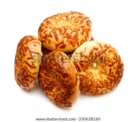 cheese bagels on white background  - stock photo