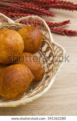 Cheese balls of dough, as an additive to the first snack meals. - stock photo