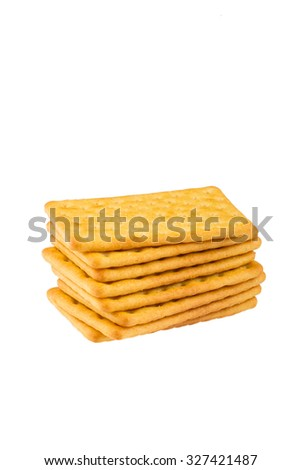 Cheese biscuits on white background