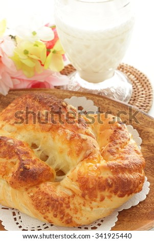 Cheese bread and milk