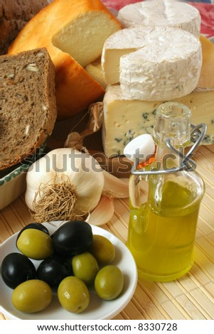 Cheese, bread and olives breakfast