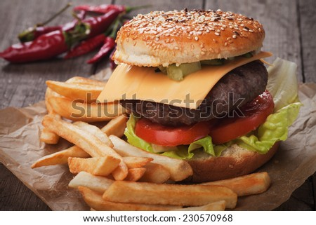 Cheese burger and french fries served on wrapping paper - stock photo