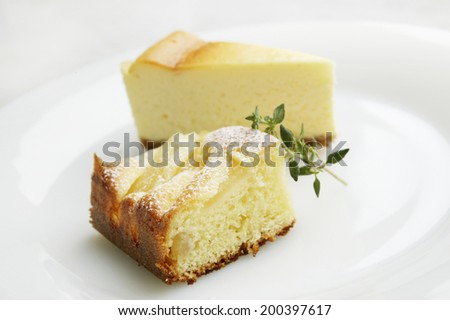 Cheese cake and pear cake