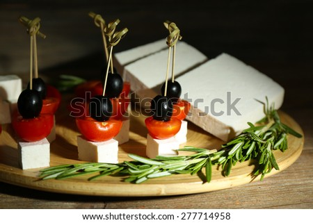 Appetizer tray stock images royalty free images vectors for Wooden canape trays