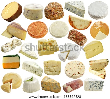 Cheese Collection Isolated On White - stock photo