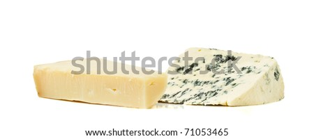 Cheese contrast of Hard parmesan cheese and Soft blue cheese.