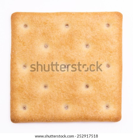 cheese cracker isolated on white background - stock photo