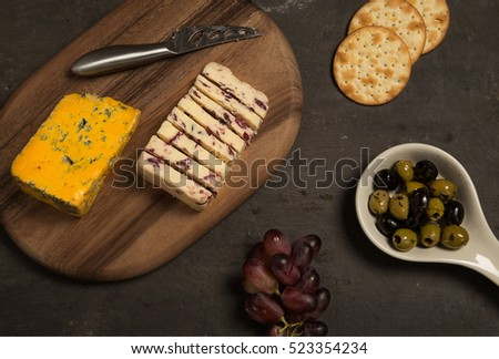 Cheese, crackers and olives