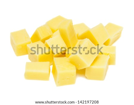 cheese cubes on white background - stock photo