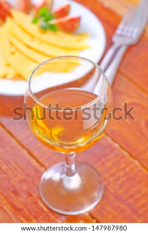 cheese,figs and wine - stock photo
