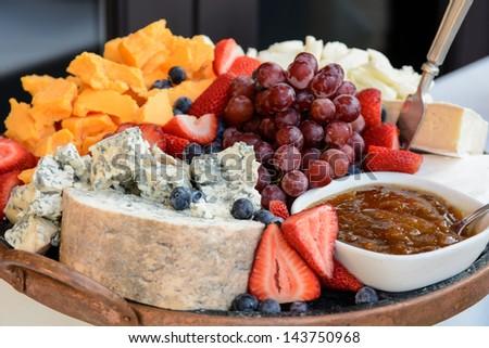 Cheese Fruit Platter - stock photo