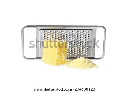 Cheese grated and piece in front of grater isolated on white background with shadow - stock photo