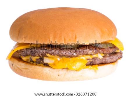 Cheese hamburger isolated on white background - stock photo