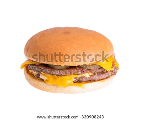 Cheese hamburger isolated on white background
