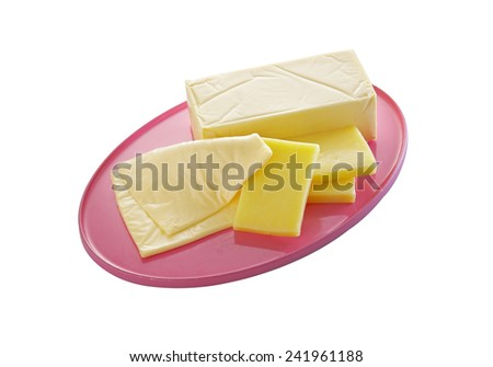 cheese in plastic tray on white background - stock photo