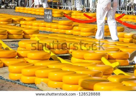 Cheese market in Alkmaar, The Netherlands - stock photo