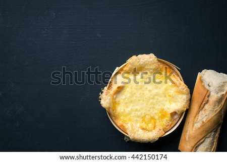 Cheese melted with bread - stock photo
