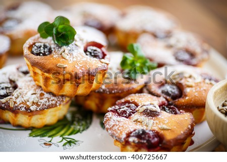 cheese muffins with walnuts and cherries