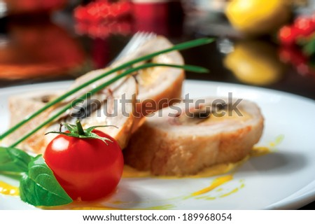 Cheese mushrooms. Delicious chicken and cheese filling the role of fried mushrooms with green onions and tomatoes with mustard for an exquisite restaurant menu - stock photo
