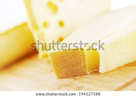 cheese on a wooden table