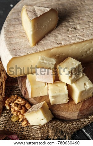 Cheese on the wooden table