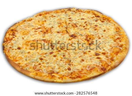 Cheese pizza on white background - stock photo