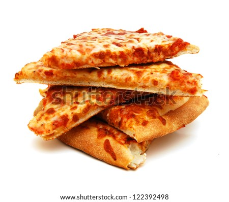 Cheese Pizza with white background, close up - stock photo