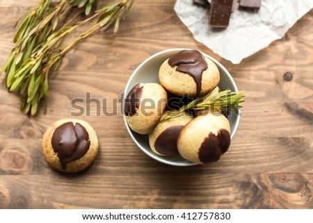 cheese profiteroles with chocolate - stock photo