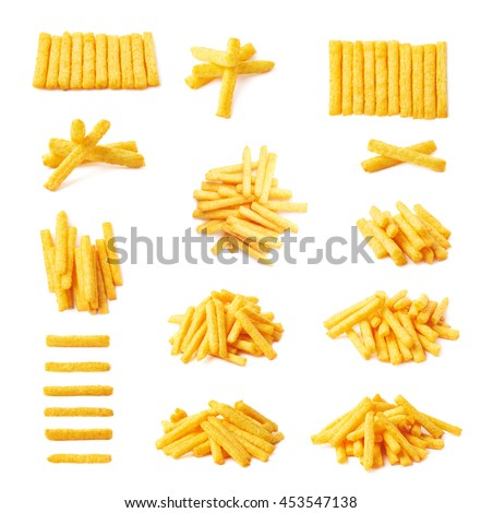 Cheese puff stick corn snack isolated over the white background, set of multiple different foreshortenings