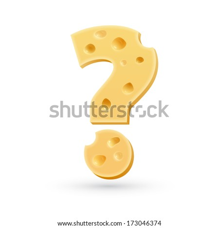 Cheese question mark. Symbol isolated on white.  - stock photo