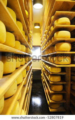 cheese room - stock photo