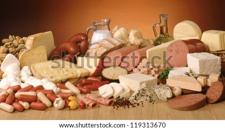 Cheese, salami and butter, - stock photo