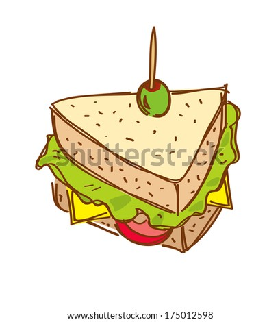 cheese sandwich doodle - stock photo