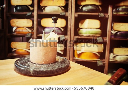 Cheese shop. Selective focus