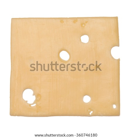 cheese slice isolated on white background cutout - stock photo
