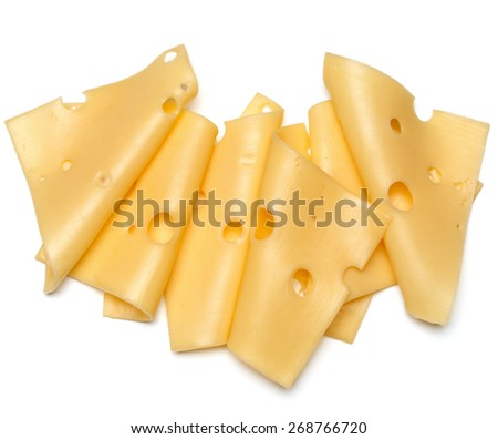 cheese slices isolated on white background cutout - stock photo