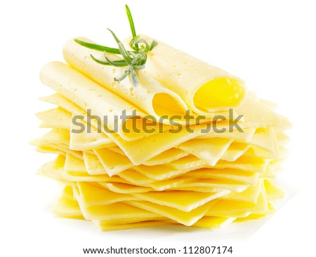 Cheese slices with fresh rosemary  isolated on white - stock photo