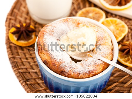 Cheese souffle  and a glass of milk