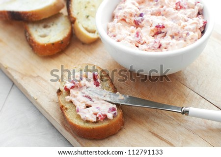 Cheese spread with toasted bread