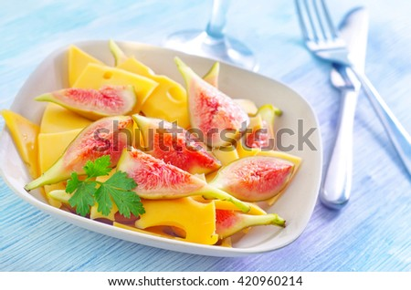 cheese with figs - stock photo