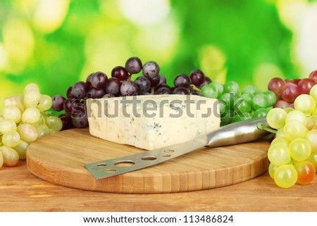 Cheese with mold on the cutting board with grapes on bright green background