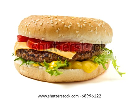 Cheeseburger and Mustard in sesame seeded bun isolated on white.