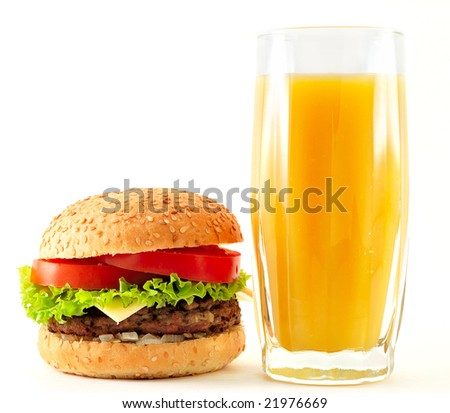 cheeseburger and orange juice
